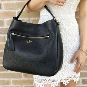 KATE SPADE Michaela Chester Street Black Hobo Crossbody Large Tassel Handbag